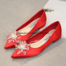 La primavera de la moda de poca profundidad de perforación boca Sharp cabeza en alto dentro de la boda zapatos planos zapatos mujer zapatos cómodos Singles Esg10590-1