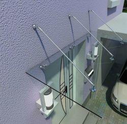 Système d'auvent de verre en acier inoxydable