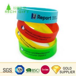 Diseño de Moda Venta caliente promocional personalizado de impresión de coloridas pulseras de la cadena para el equipo de fútbol