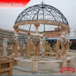 La Escultura de Mármol Piedra jardín cenador de hierro de fundición con la parte superior (GSGZ-117)
