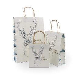 Bruttokorn-Farbband-Griff-flache Unterseiten-Fantasie-Weihnachtsverpackungs-Papierbeutel