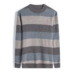 Commerce de gros de la laine mérinos rayé Crew Neck hommes Knitwear