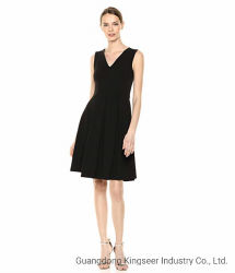 주문품 Elegance V Collar Sleeveless 형식 주식 숙녀 폴리에스테 시퐁 저녁 당 검정 색깔 여자 여름 새로운 디자인 약식 야회복