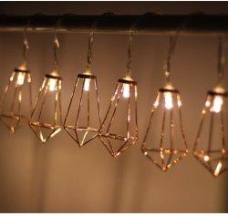 Diamond Luzes String operado a bateria aquecer White Rose Gold Metal Decoração Lâmpadas String geométrica para luzes de piscina casamento festa de Natal do quarto
