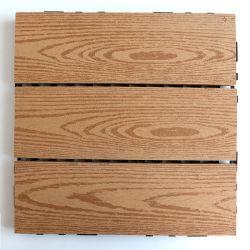 Grãos de madeira bricolage exterior de intertravamento de profundidade 3D Gofragem composto de plástico de madeira WPC Azulejos do piso