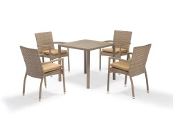 تصميم غيران للترفيه طاولة كرسي من الألومنيوم الخيزران PE