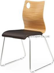 Restaurantes Cantina duradera Cafe silla moderna silla de comida rápida a la espera del cojín del Asiento silla con Base de madera y acero inoxidable de la pierna