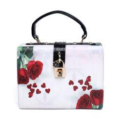 Nam de Fabrikanten van de Handtas van de Kwaliteit van de Zak van de Avond van de Gesp van het Slot van het Leer van het Af:drukken Pu van het Hart van Bloemen toe