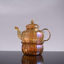 Verre borosilicaté de couleur ambre théière avec Infuser et chaudes
