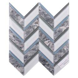 Sai de forma espinha de peixe Chevron Faixa Trapezóide branco azul cinza nuvem pedra cristal em mármore com mosaicos de vidro Tile para parede interior cozinha decoração painel contra salpicos