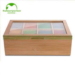 Caixa de chá em bambu natural dispensador saquinho de chá