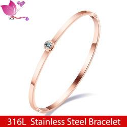 Alta calidad al por mayor Zircon Crystal 18K Gold Bangle Acero inoxidable Joyería