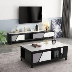KAFFEETISCH-Möbel des Wohnzimmer-Black+ weiße einfache nordische moderne hölzerne Glasspitzen