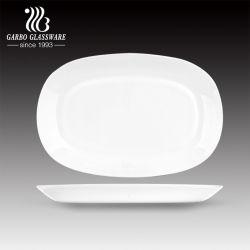 Placa de vidro Opal em forma de oval, com venda a quente, peixe de vidro branco puro Pratos para jantar Restaurante Hotel Use