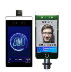 Termometro infrarosso, sistema di riconoscimento di fronte con la misura automatica di temperatura, terminale di controllo facciale di riconoscimento