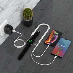 iPhone Apple 시계 유형 C를 위한 1개의 USB 이동할 수 있는 빠른 비용을 부과 케이블 자석 무선 선창 전화 충전기 케이블에 대하여 Portable 3