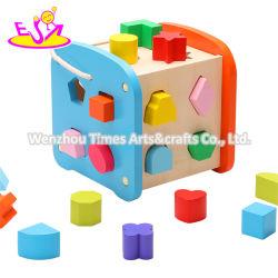 Figura di legno educativa di nuovo arrivo che ordina cubo per i bambini W12D201