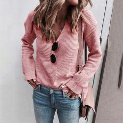 中国工場卸売業ウィメンズプルオーバーファッション V ネックニットルーズセーター