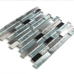 Longue bande de métal de la mosaïque de cristal décoration murale MUR de la mosaïque de tuiles de fond de verre