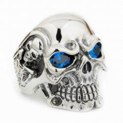 Sterlingsilbermens-Radfahrer-Punk-Schmucksachen des Zircon-Schädel-Ring-925