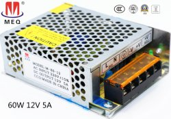 Alimentação eléctrica comutável 60W 5V com caixa metálica AC-DC driver de LED de alimentação de energia para iluminação 12A