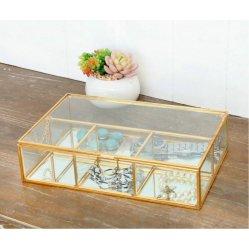 Vidro de porta-jóias 24x15.5x6cm Rack Caixa de jóias, Metal arte, decoração, a decoração da casa de recreio