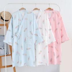 elegant V Neck Bathrobe女性の着物の寝間着の女性2021の新しい羽パターン綿のパジャマの女性衣類