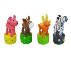 Tierisches hölzernes Pop-up Stoss-Marionetten-Finger-Minispielzeug für Kinder