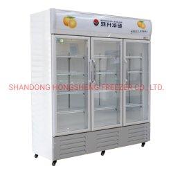 250L 350L de la puerta de vidrio vertical Enfriador de bebidas mostrador de exposición