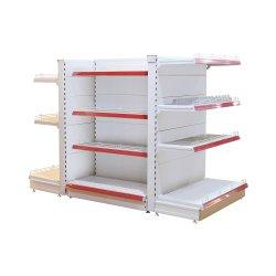 Diseño estándar hipermercado estanterías góndolas/perforado posterior estantes