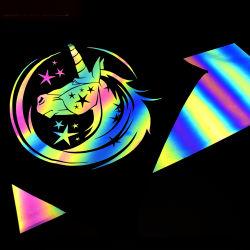 Hochwertige Holografische Regenbogen Reflektierende Wärmeübertragungsfolie Reflektierende Wärme Textil-Vinyl Übertragen
