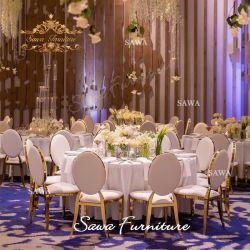 Comercio al por mayor de acero inoxidable superior de cristal de lujo en silla de banquetes Boda parte