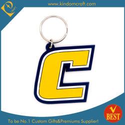 La lettre C de la mode de haute qualité en PVC de forme de promotion de la chaîne de clé de jeu de clés à faible prix à partir de la Chine