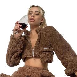 Slanna Vente chaude veste à manches longues femmes Teddy fausse fourrure plus épais Taille poches moelleux de somptueux Mesdames manteau Vêtements