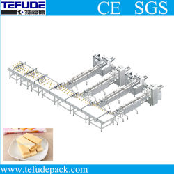 Fully Automatic Food Packaging Production Line for Wafer Cookies Cereal Bar Wrapping Machine Cookies Feeding Flow Packaging Line