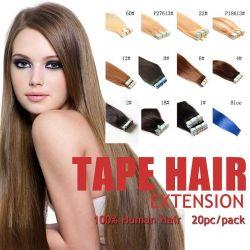 Heißes Jungfrau Remy Haut-einschlagband-geben anhaftende Haar-Extensions-Produkte #1b schwarzes 100g des Verkaufs-20PCS brasilianisches Verschiffen frei