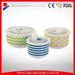 Cuencos de cerámica con los nuevos diseños y tapa de PE