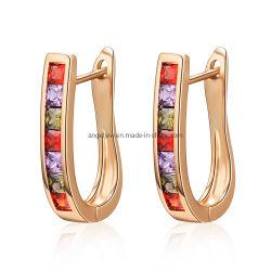 新しい到着の卸売の方法宝石類は多彩で豪華なジルコン925の純銀製のクリップ式イヤリングを設計する