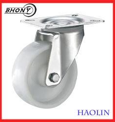 Haolin 4-8 дюйма промышленного транспорта верхней пластины поворотный белый PP продольного наклона оси поворота колеса с тормозом