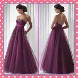 ストラップレスのイブニング・ドレスの妊婦のガウンの紫色のプロムの服Bg016