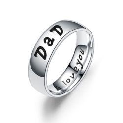 Aço inoxidável 6mm Dad Mom Filho Filha Banda de casamento anel clássico13437 ESG