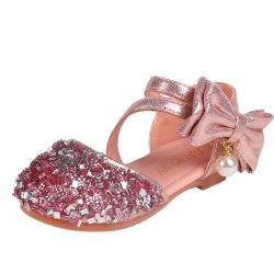 L'infante del bambino dei sandali del bambino scherza i pattini Esg14034 dei Sequins della principessa Dance Leather Casual Bow di modo delle ragazze