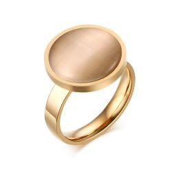 Ring van de Cirkel van het Huwelijk van het Roestvrij staal van de Steen van het Oog van de kat de Gouden voor Vrouwen