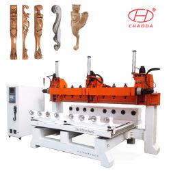 Cabeça de múltiplos/ Eixo 5 do ATC rotativo para entalhar Madeira Máquina Router CNC para mobiliário perna, Pilar, Escultura, Gun circulante que