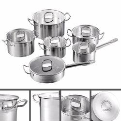 調理器具はPot&Panセット、誘導、鍋、緩和されたガラスのふたが付いているカセロールを、調理する12部分のステンレス鋼の台所をセットした