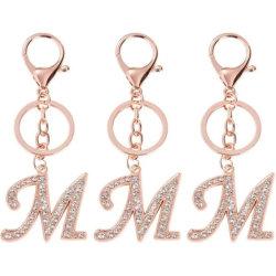 알파벳 열쇠 고리 a-Z 편지 열쇠 고리 빛나는 수정같은 열쇠 고리 부대 펜던트 선물