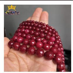 I branelli di pietra naturali hanno sfaccettato i braccialetti Handmade di colore rosso 4/6/8/10/12mm DIY