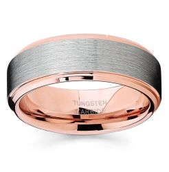 Ring 8mm van de Trouwring van het wolfram voor het Comfort van de Juwelen van de Vrouwen van Mannen Geschikte 18K Goud toenam plateerde Afgeschuinde Geborstelde Rand