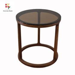 Le Coffee Shop meubles petit socle en bois rond en verre Table latérale supérieure