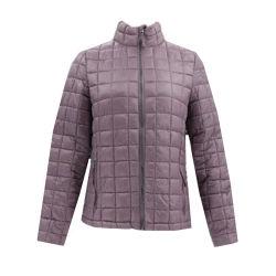 Mesdames d'hiver de broderie d'usure Puffy coton léger et de la preuve de l'eau en nylon à fermeture éclair brillant Packable femmes veste matelassée